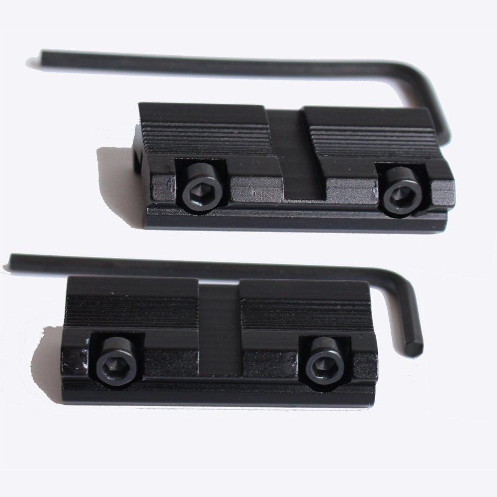 2pcs / Set Picatinny/W 3/8 11 mm de Cola de Pato a 7/8 20 mm Weaver Rail Adaptador de Montaje táctico Caza Rifle Pistola de Montaje de Base de Montaje NOGA DG024