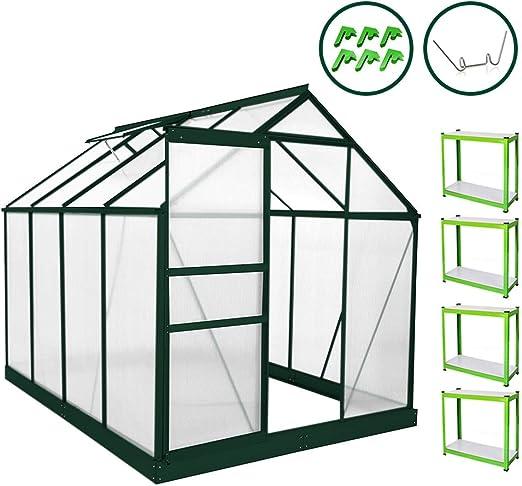 MonsterShop Invernadero de Jardín Policarbonato Transparente Aluminio Plantas Cultivos Hortalizas Vivero con 10 W Clips Gratis con Base y con Estantería 1.8m x 2.4m: Amazon.es: Jardín