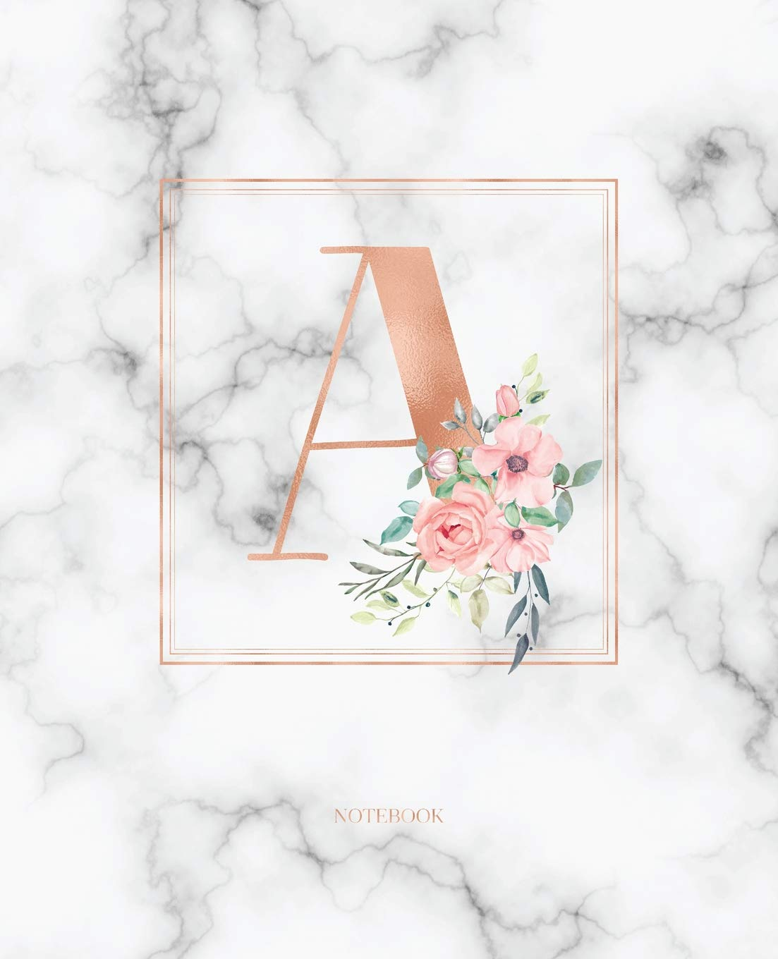 Notebook Rose Gold Monogram Initial Letter A With Marble And Pink