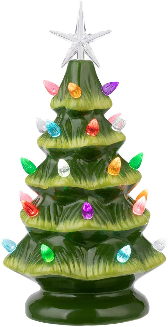 "Sunnyglade 11"" Ceramic Christmas Tree Tabletop Christmas Tree Lights with 28 Multicolored Lights and 1 Star Toppers for Table Top Desk Classic Series Christmas Decoration (Green) (Green)"