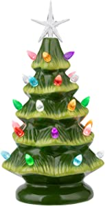 """Sunnyglade 11"""" Ceramic Christmas Tree Tabletop Christmas Tree Lights with 28 Multicolored Lights and 1 Star Toppers for Table Top Desk Classic Series Christmas Decoration (Green) (Green)"""