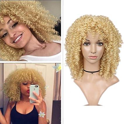 HANNE Peluca corta, afro, rizada, rubia, con peluca sintética resistente al calor