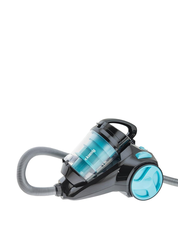 H.Koenig SLC85 Aspirapolvere multiciclonico senza sacco classe A, 2,5L, Speciale per animali, Nero/Blu [Classe di efficienza energetica A] SLC85special pets