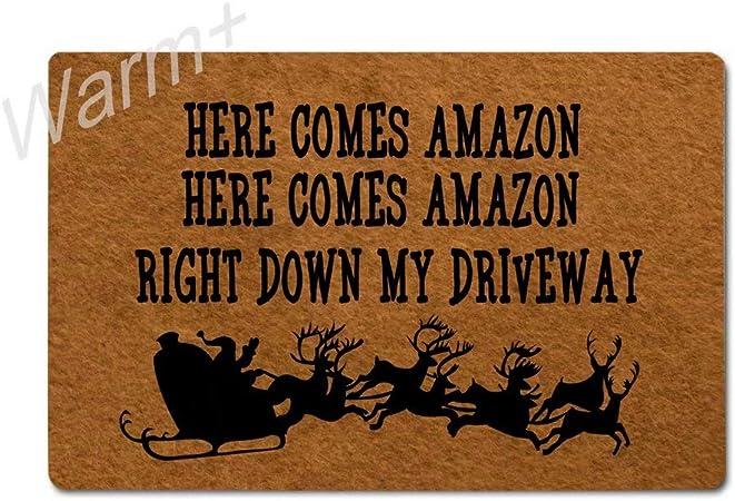 Amazon Com Warm Doormat Here Comes Amazon Right Down My
