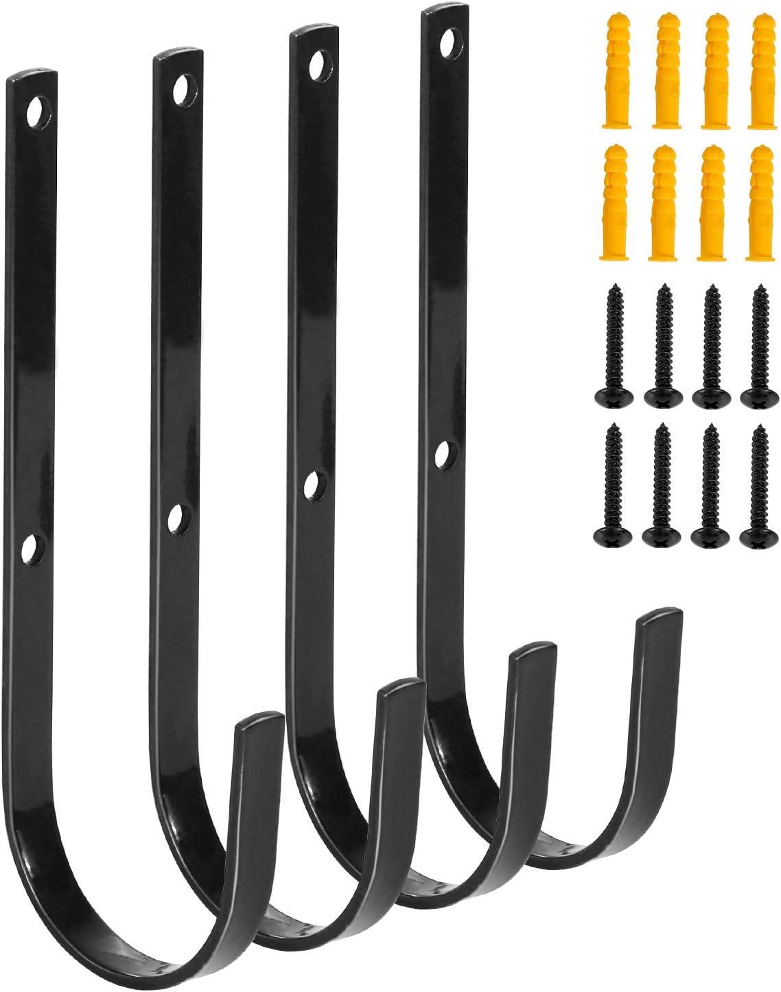 Redcamp Black Iron Heavy Duty Storage Utility Hooks,Set of 4/8,Large Garage Hooks Wall Mount for Hanging Storage Garden Tools