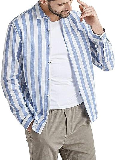 MEIbax Explosión Otoño e Invierno Estampado De Rayas Ocio Algodón Y Lino Manga Corta Camisa Hombre Manga Larga Camisetas Tops Cómodo Delgada Cárdigans Blusa Abrigo Outwear Hombre Ropa: Amazon.es: Ropa y accesorios