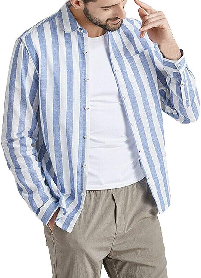 CAOQAO Camisas Retro de Manga Larga Lisas de Lino con Botones a Rayas Vintage para Hombres: Amazon.es: Ropa y accesorios