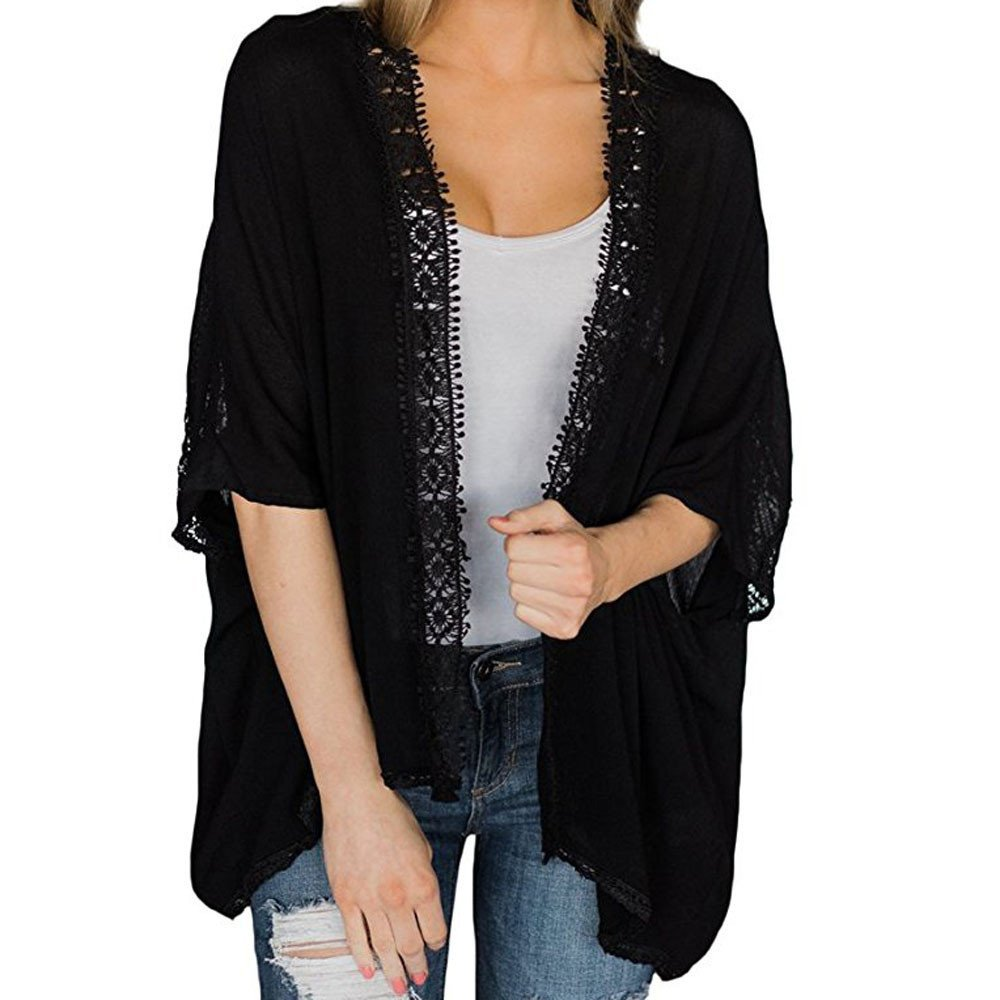 Women Ladies Lace Kimono Cardigan Open Front Cover Ups Cape Casual Coat Blouse Jacket by LUCA