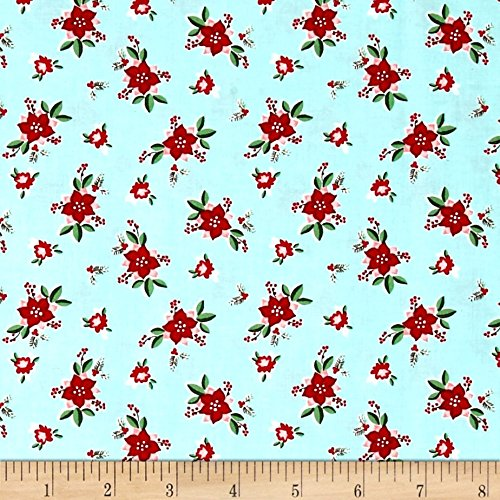 Riley Blake Pixie Noel Floral Aqua Fabric By The Yard