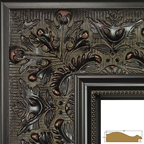 Craig Frames Borromini, 5 by 7-Inch Ornate Picture Frame, Black Walnut - 7 Piece Walnut Finish Wood