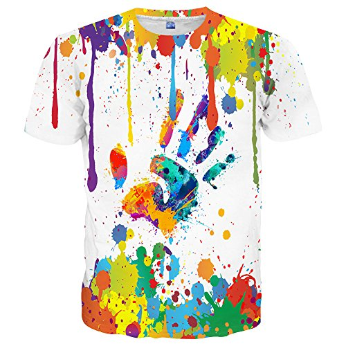 Neemanndy Unisex Colorful Paint Cute Shirt Designer Short Sleeve Mens Shirt, Large ()