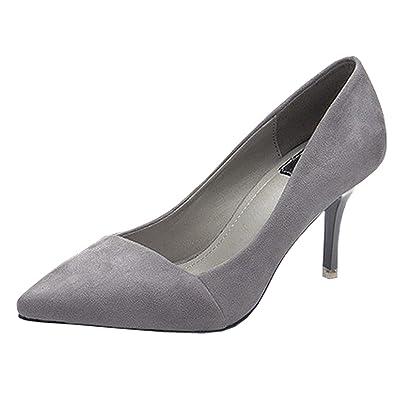 KINDOYO Damen Elegant Spitz High Heels Pumps Plateau Party Freizeit Stilettos Schuhe mit 8CM Absatz Schwarz