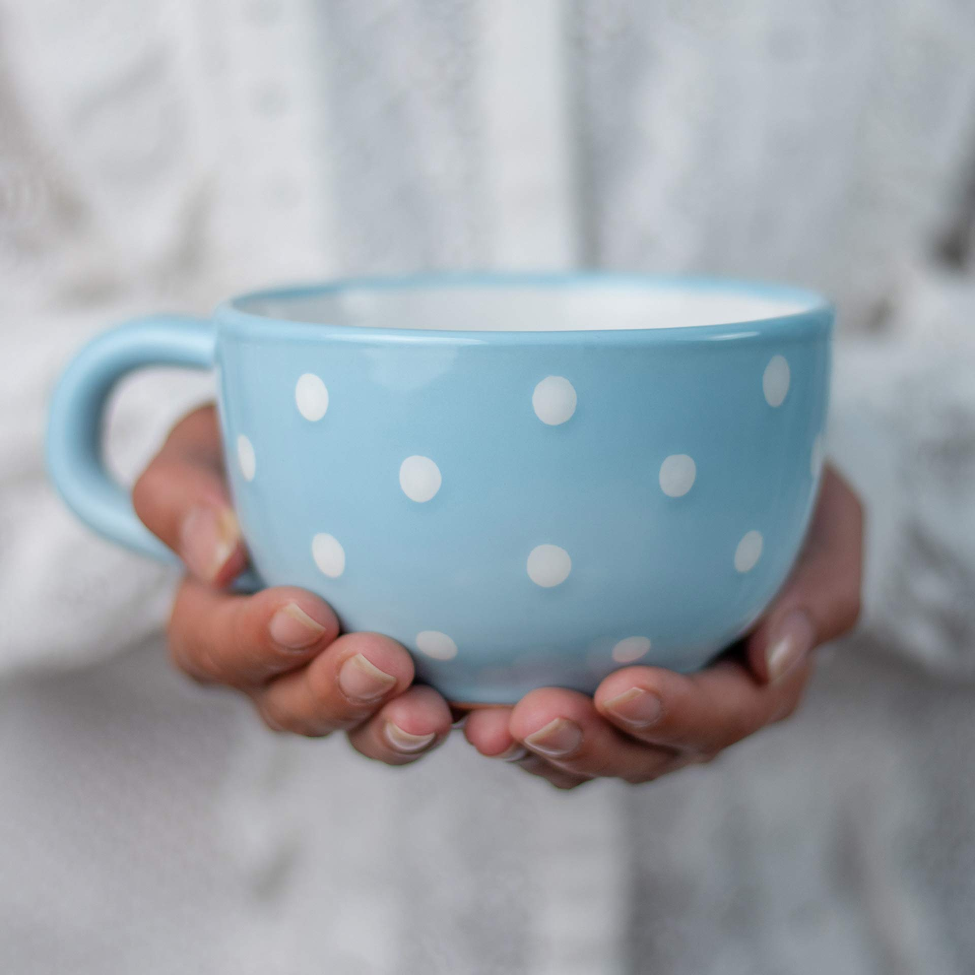 City to Cottage® Light Sky Blue and White | Polka Dot Spotty | Designer Handmade Hand Painted | Unique Ceramic Extra Large 17.5oz/500ml | Cappuccino Coffee Tea Soup Mugs Cups with Handle | Gift