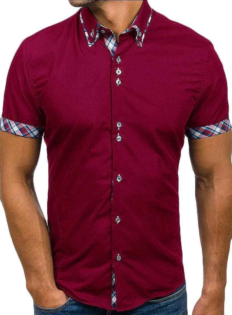 Generic Mens Short Sleeve Tops Summer Regular-Fit Cotton Short Sleeve Casual Shirts