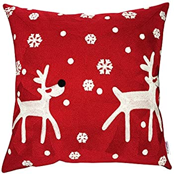 IBraFashion Christmas New Year Decorative Throw Pillow Cover 18x18 Winter Snowflake Theme Full Embroidery Square Christmas Moose in the Snow