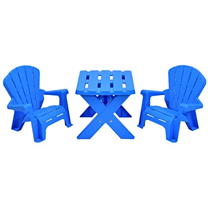 Costzon Kids Plastic Table And 2 Chairs Set, Adirondack Chair, Patio  Activity Craft Table
