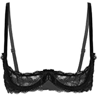 TiaoBug Women Sexy 1/4 Cup Sheer Lace Bra Push Up Underwired Shelf Bra Unlined See Through Bralette