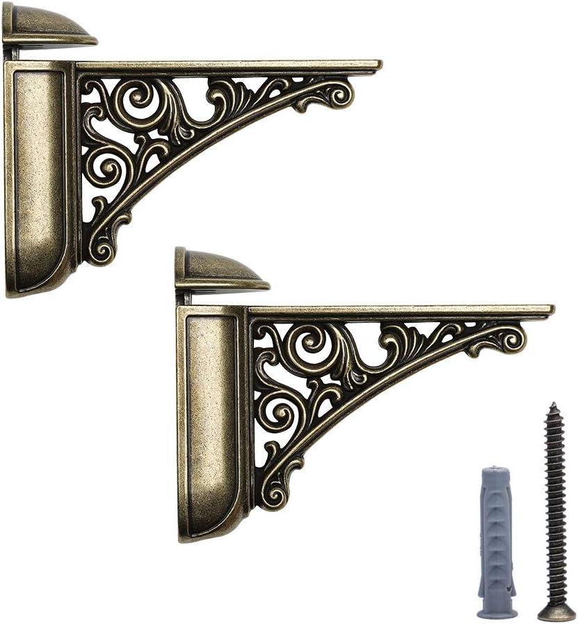 HARPOON 2 Pack Shelf Brackets Cast Iron, Large 3.7X 4.9 inch (Antique Brass)
