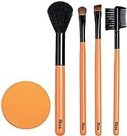 Conjunto de Pincéis de Maquiagem e Esponja, Ricca, Rosa/Roxo/ Laranja