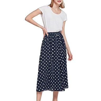 FELZ Falda Mujer Falda Midi Mujer Falda de Cintura Alta con ...