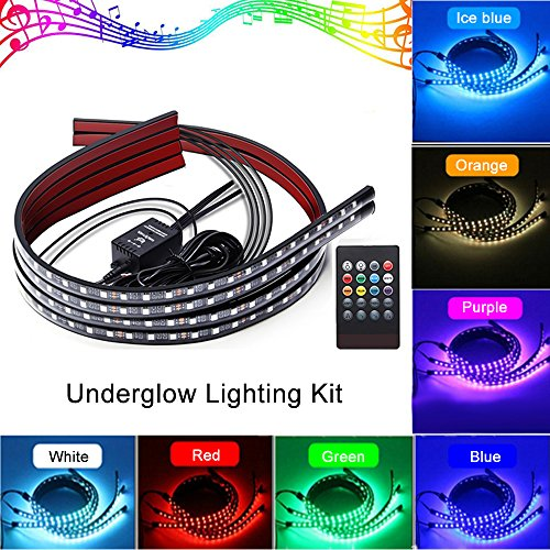 Oneka 4PCS Car LED Multicolor Undercar Glow Waterproof Lights Underglow Atmosphere Decoration Bar Lights Kit Strip Musical Sync Light Tube Underbody Sound Actived Wireless Remote Control(60-90cm)