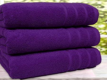 Casabella - Juego de 3 toallas de baño, algodón egipcio de 550 g/m², tamaño extragrande, Morado, 3 Bath Towel: Amazon.es: Hogar