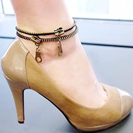 d426a5c00b2f19 Amazon.com   Affordable Anklet Women Zipper Shaped Anklet Ankle ...