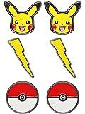 Pokemon Pikachu Lightning Bolt Poke Ball Stainless Steel Stud Earrings Set