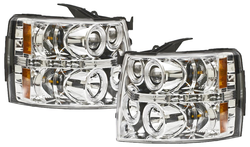 IPCW CWS-3040C2 Chevrolet Silverado 2007 - 2013 Head Lamps, Projector With Rings Chrome B005FW2HWW