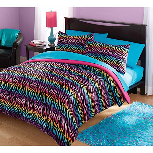 2 Piece Girls Rainbow Zebra Stripes Theme Comforter Twin Set, All Over Stylish Exotic Animal Print Bedding, Colorful Fun Wild African Safari Zoo Animals Striped Themed Pattern, Pink Blue Purple
