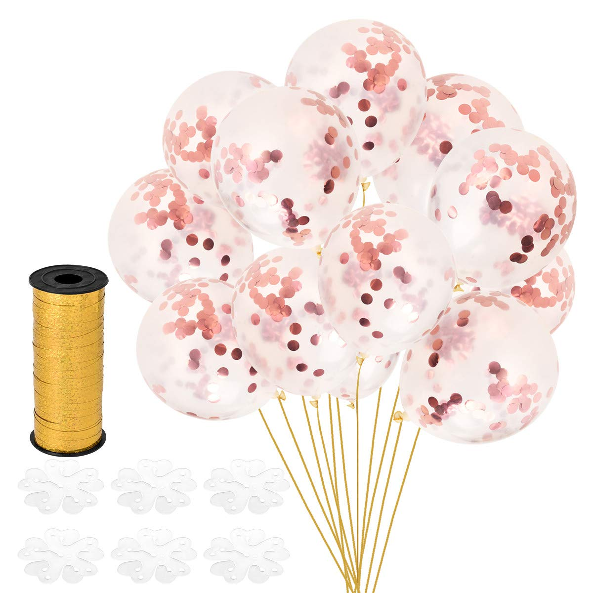 Artoper 30 pcs Rose Gold Confetti Balloons 12 inch - Wedding Party Supplies - Birthday Decorations - Bachelorette Party Clear Latex Balloons - Gold Ribbon - Prefilled Confetti Do (30 Pack - Rose Gold)