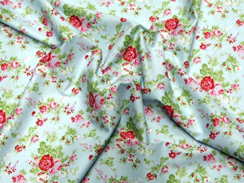 Blue Fq Quilting Fabric - Free Spirit Tanya Whelan Delilah Amelie Poplin Quilting Fabric Blue - per fat quarter