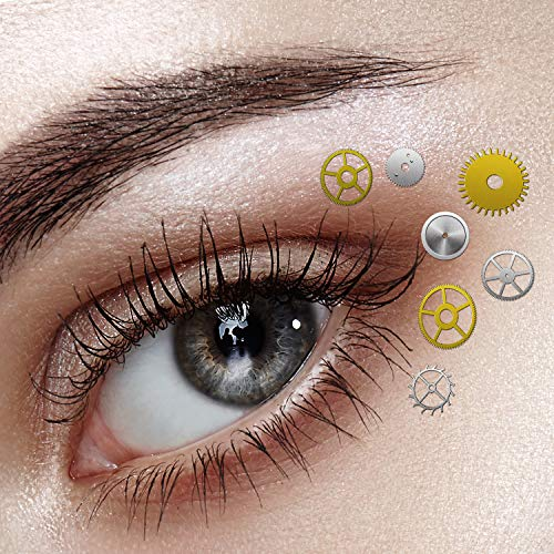 Punk Makeup For Halloween (About 200 Pieces Steampunk Eye Decals Gears Gothic Eye Decals with Tweezer for Halloween Costume Eye and Nail)