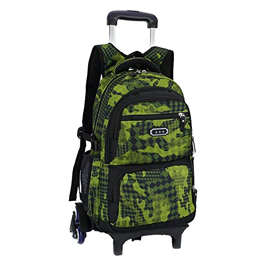 Fanci Flora Camo Waterproof Elementary Rolling Trolley School Bag Backpack  Boys Camouflage Wheeled Backpack Carry on 9878ac8c7f30a