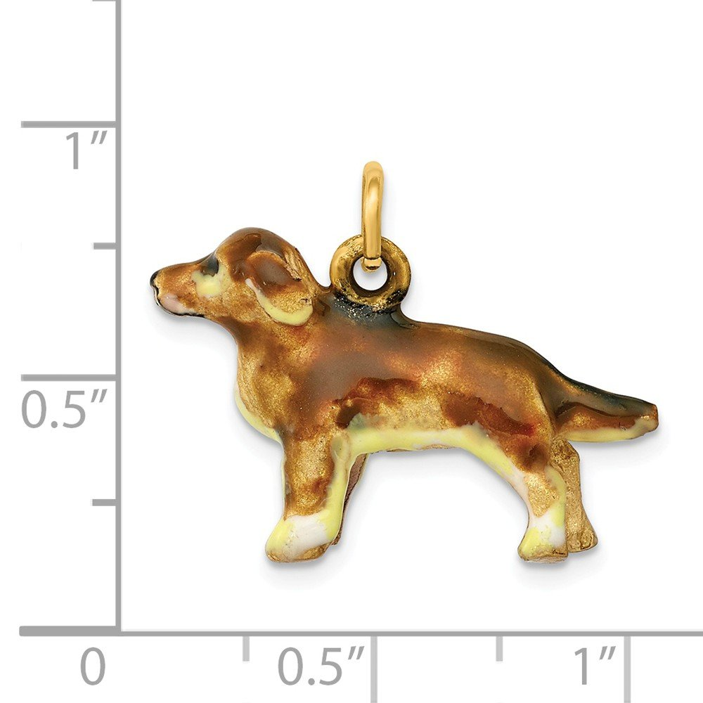 14K Enameled Small Golden Retriever Dog Charm by DiamondJewelryNY (Image #3)