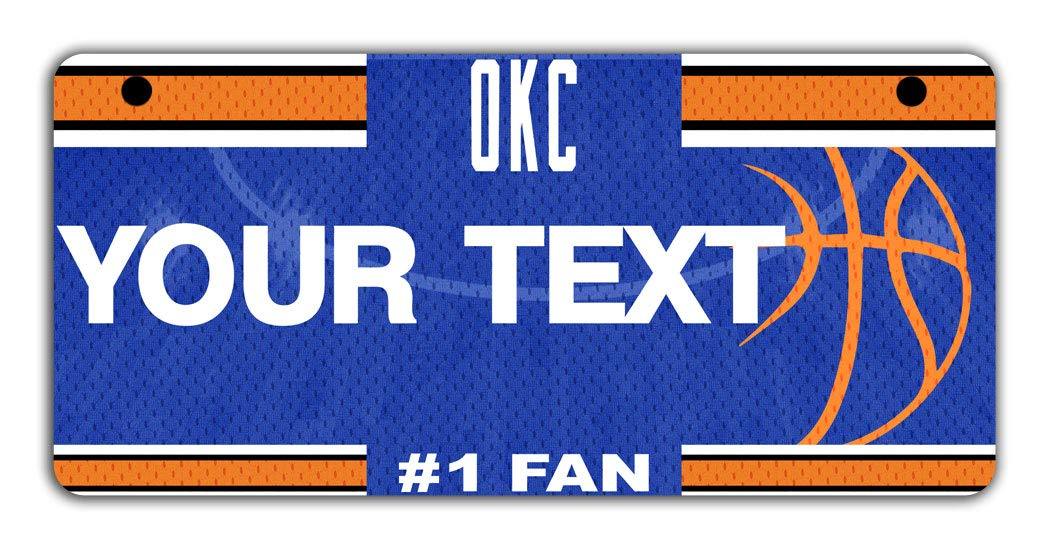 BRGiftShop Personalize Your Own Basketball Team Oklahoma City Bicycle Bike Stroller Childrens Toy Car 3x6 License Plate Tag