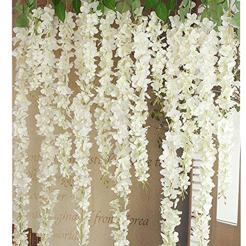 30 Piece Artificial Flowers Silk Wisteria Garland-Dearhouse Artificial Wisteria Vine Ratta Silk Hanging Flower For Home Garden Outdoor Ceremony Wedding Arch Floral Decor -