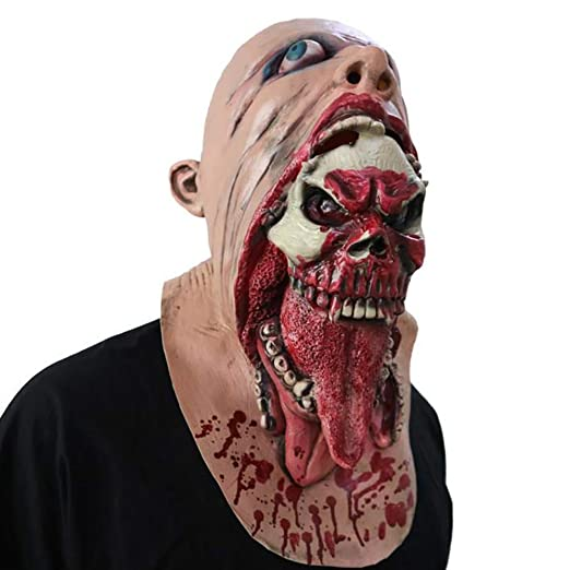 Bloody Zombie Mask Melting Face Adult Latex Costume Walking Dead Scary for Carnivals Parties Masquerade Halloween