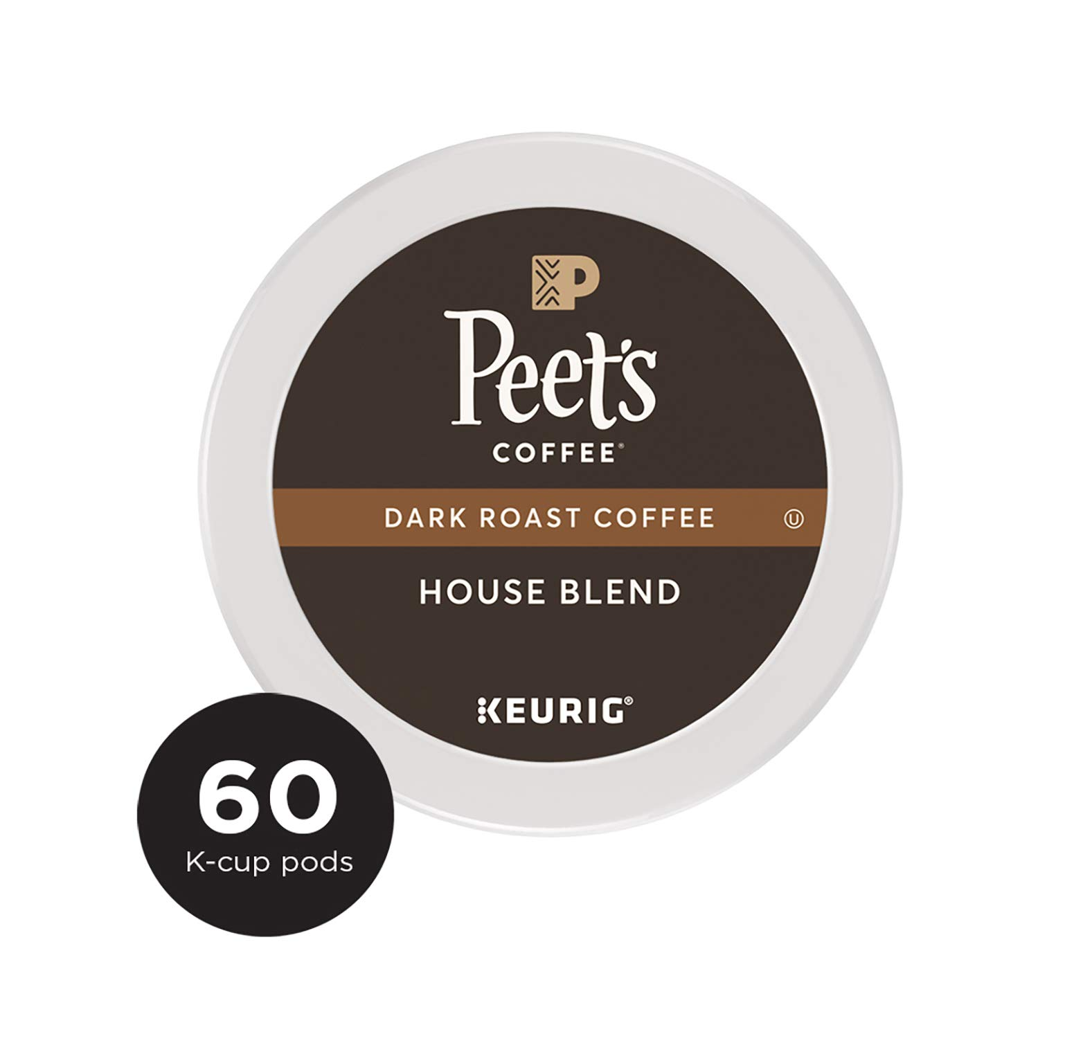 Peet's Coffee House Blend, Dark Roast, 60 Count Single Serve K-Cup Coffee Pods for Keurig Coffee Maker