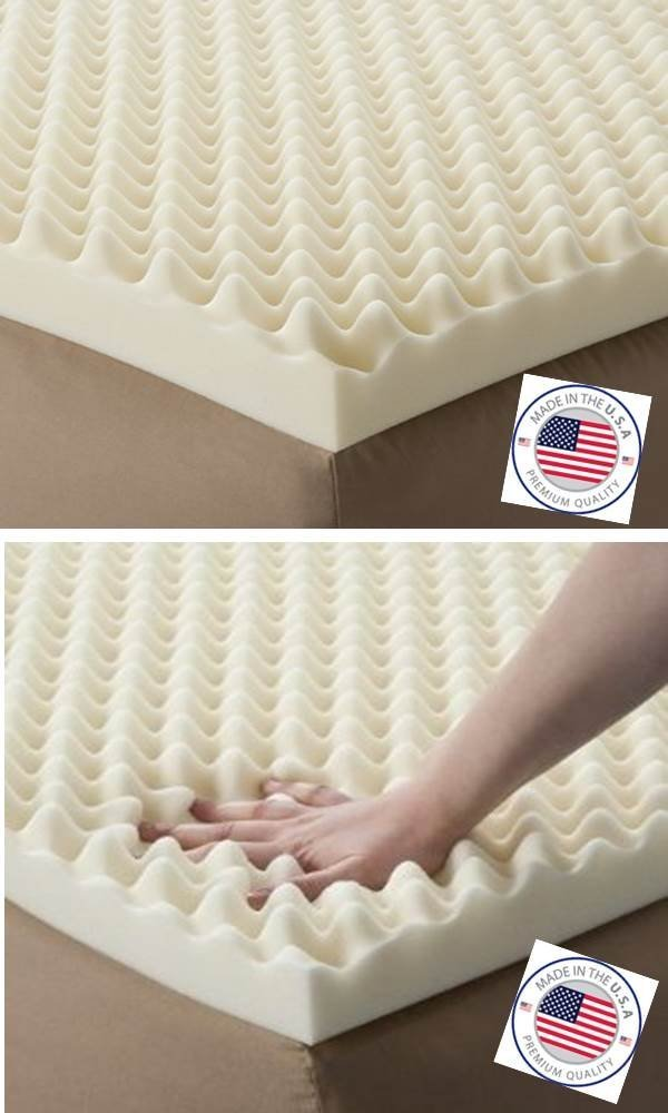 Vaunn Medical Egg Crate Convoluted Foam Mattress Pad - 3'' Thick EggCrate Mattress Topper (Hospital Bed Twin Size) - Made in USA