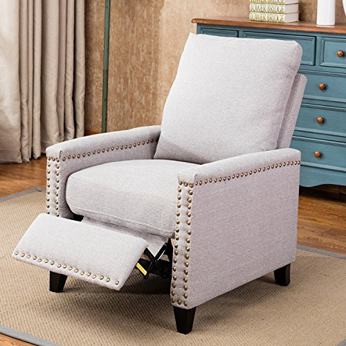 Harper&Bright Designs Fabric Recliner Club Chair Push Back Recliner with Copper (Back Reclining Club Chair Frame)