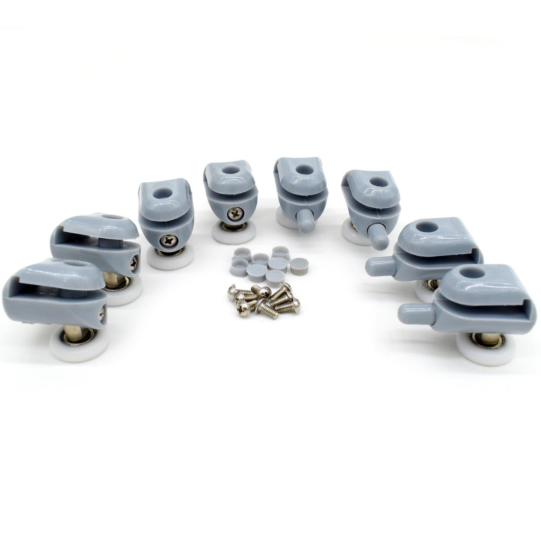 Polea para mampara de ducha, 4 piezas superiores y 4 piezas inferiores, para puerta corredera de cristal baño, incluye rodamientos de recambio (22 mm de ...