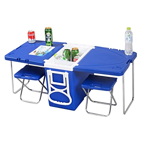 Multifuncional Rolling Cooler con mesa y 2 sillas Picnic Camping al ...