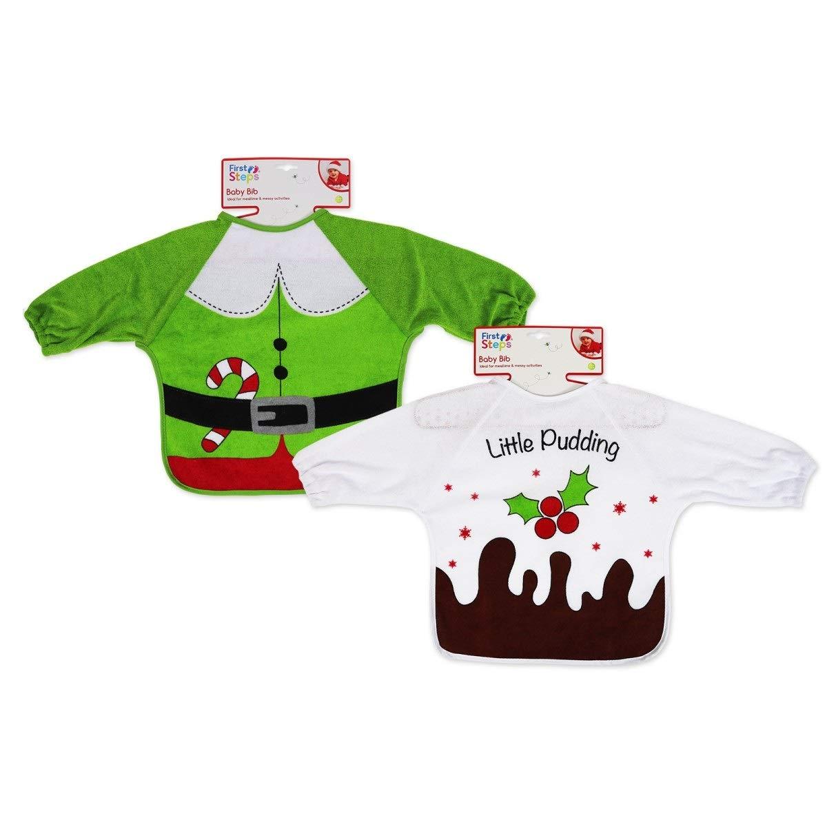 Christmas Baby PEVA Bibs Long Sleeve Boy Girl Elf and Pudding (Elf & Pudding) PinkBlueWhite