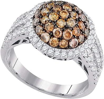 anillo oro blanco con diamante marrón central de 2 quilates