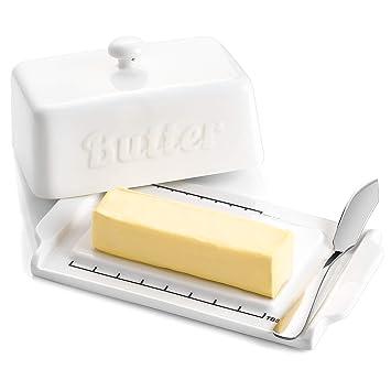 Butterdose aus KERAMIK Butterglocke BUTTERDOSE mit Obst 16,5 x 12 x 8,5 cm