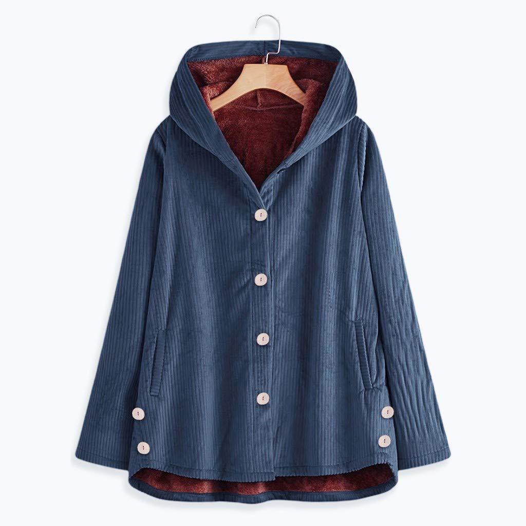 Bluestercool Cappotto Lungo da Donna in Velluto A Coste con Bottoni E Cappotto Lungo in Velluto