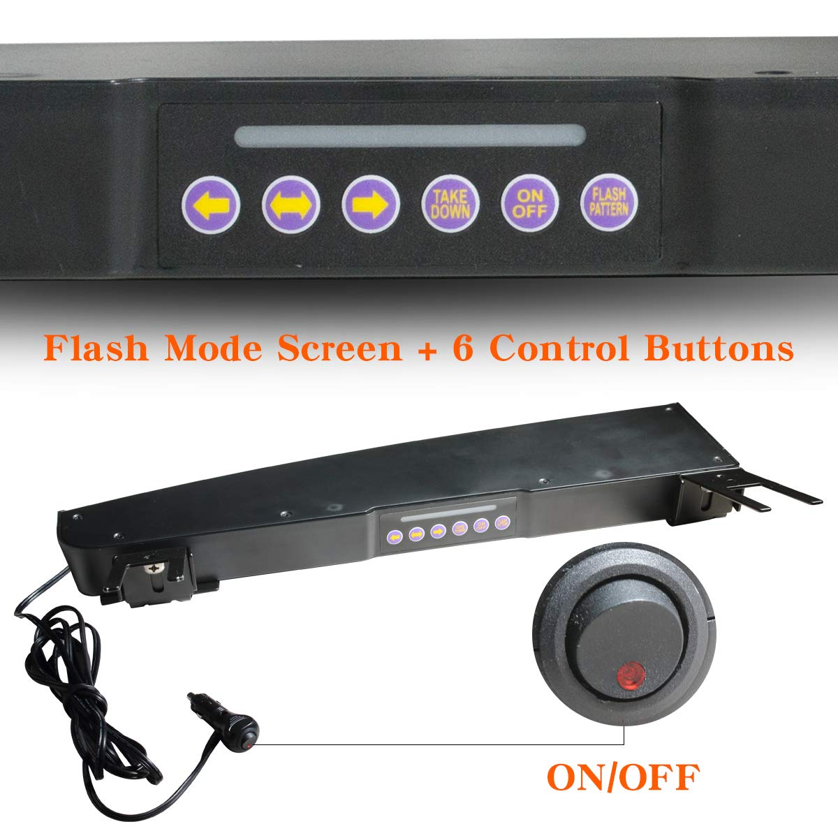 29 Flash Patterns Emergency Visor Strobe Lights Windshield Interior Split Mount LED Visor Light Bar Blue ASPL Visor Lights