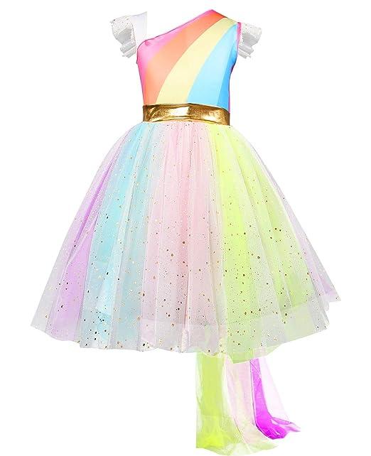 Amazon.com: Eshiree Little Girls Rainbow Unicorn disfraz de ...