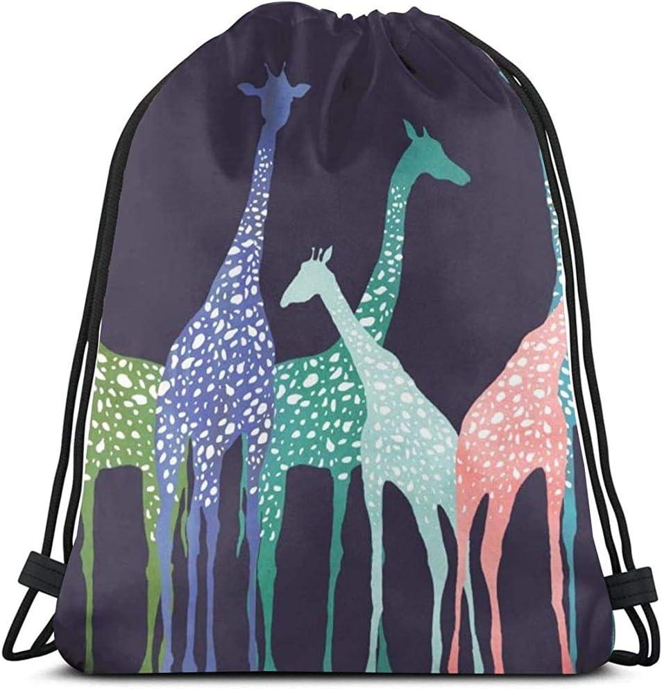 Cordon Sac /À Dos Color/é Girafes 3D Imprimer Cha/îne Sac Sac /À Dos Cinch Fourre-Tout Sacs Cadeaux pour Femmes Hommes Gym Shopping Sport Yoga